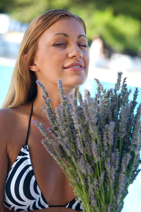 Download Woman with lavander stock image. Image of woman, beauty - 20072717