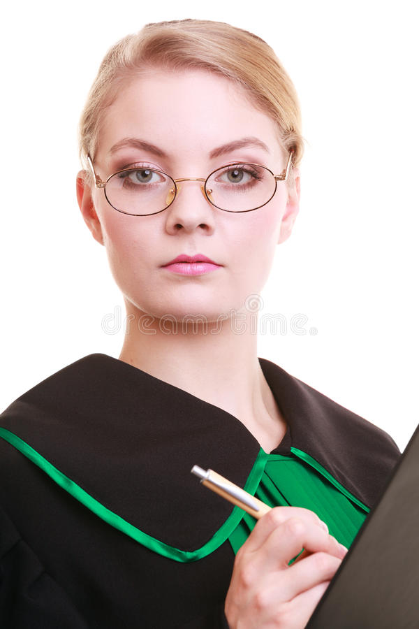 Free Woman Lawyer Attorney In Classic Polish Gown Writing On Clipboard Stock Photo - 37438590