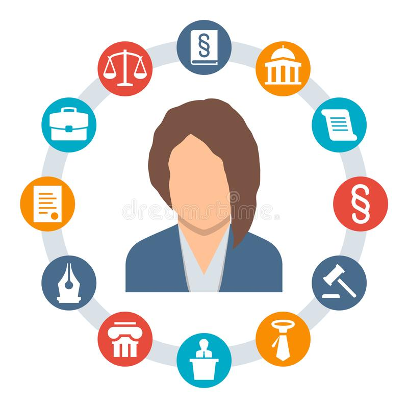 Woman lawyer, law concept icons vector illustration
