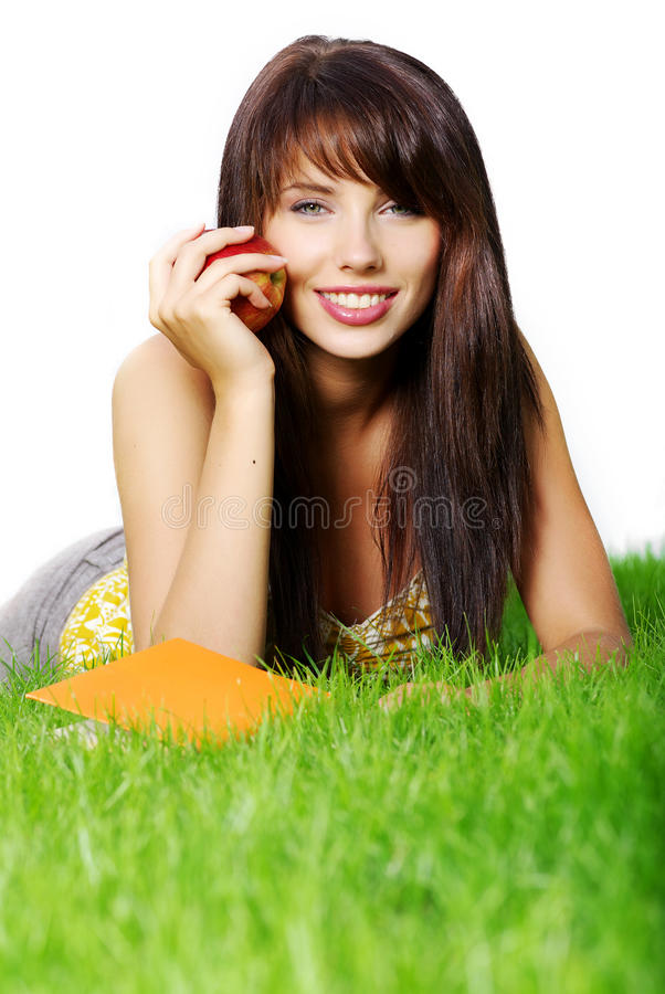 Download Woman lays on grass stock photo. Image of education, attractive - 12873402