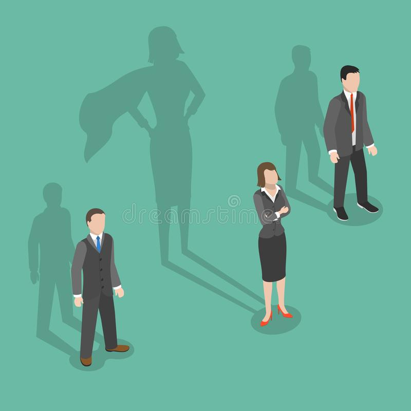 Woman leader flat isometric vector concept. Two men and a woman are standing with their shadows behind them and womans shadow is a biggest one and has royalty free illustration
