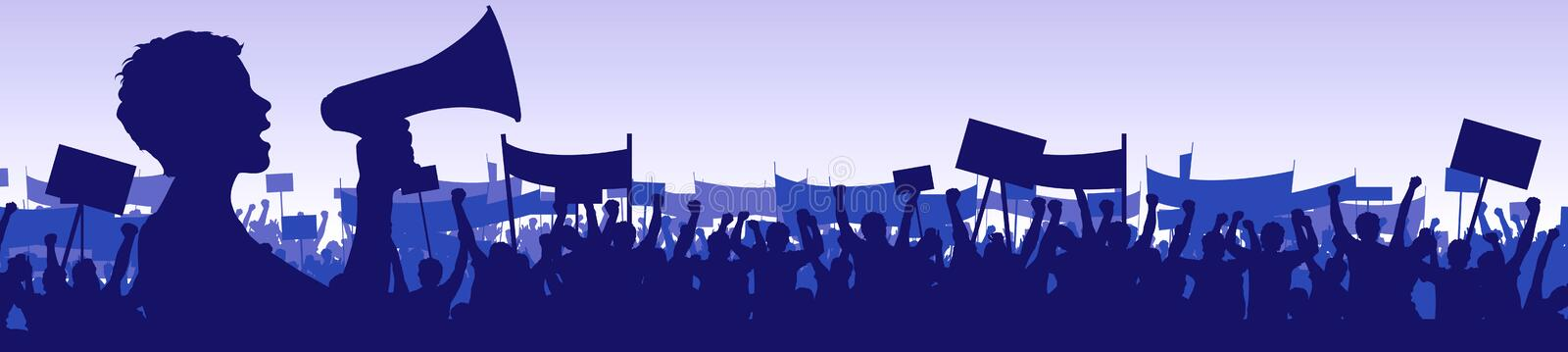 Woman leading a demonstration royalty free illustration