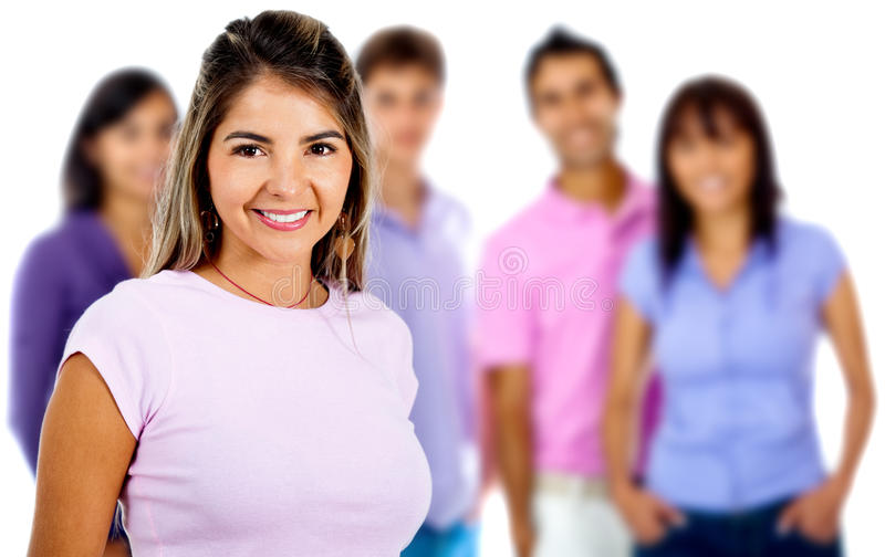 Download Woman leading a group stock photo. Image of cute, smiling - 22142848
