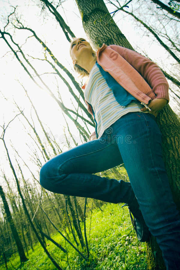 Woman leaning royalty free stock photography