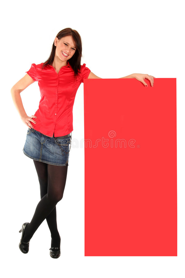 Woman leaning on a billboard royalty free stock photos