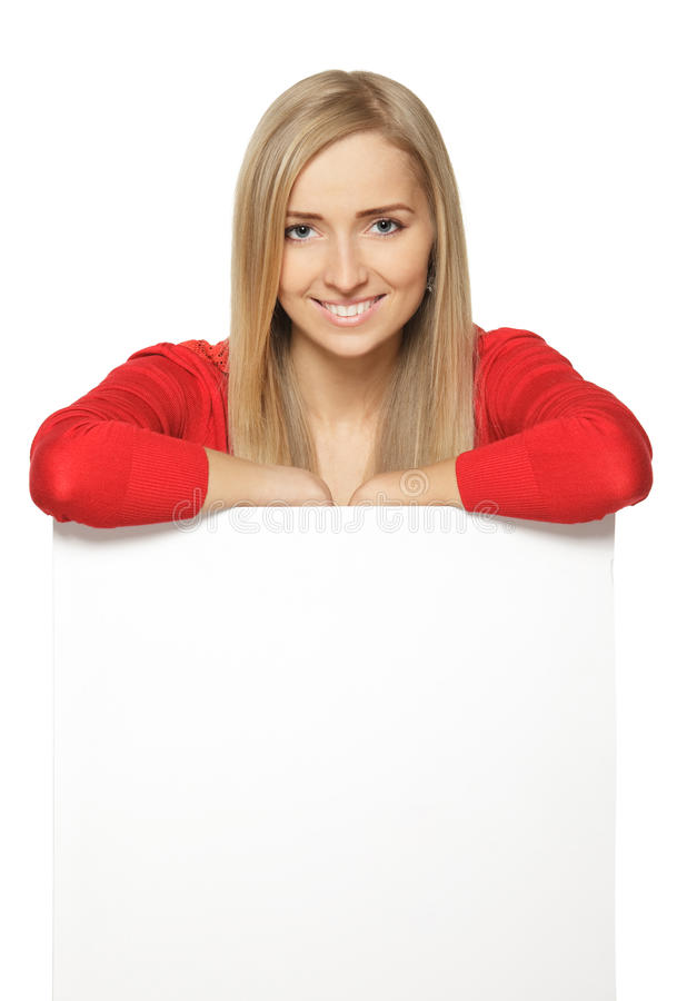 Download Woman Leaning On Blank Whiteboard Stock Photo - Image: 24160186