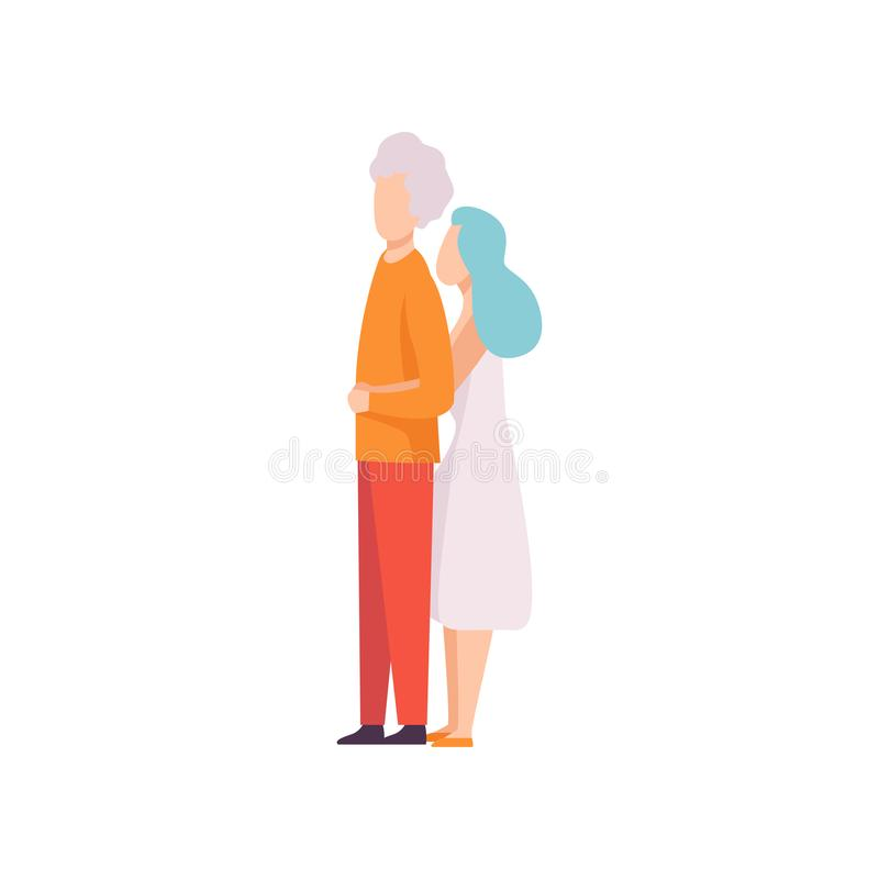 Woman Leaning on Man Back and Hugging Him, Happy Romantic Couple in Love Vector Illustration. On White Background vector illustration