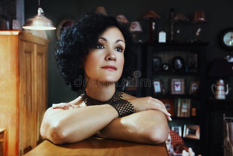 Woman Leaning On Wooden Table Free Public Domain Cc0 Image