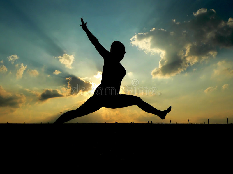 Download Woman Leaping stock image. Image of sunrise, jump, leap - 184473
