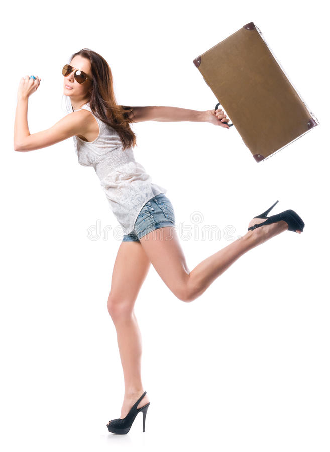 Download Woman with leather case stock image. Image of isolated - 18606069