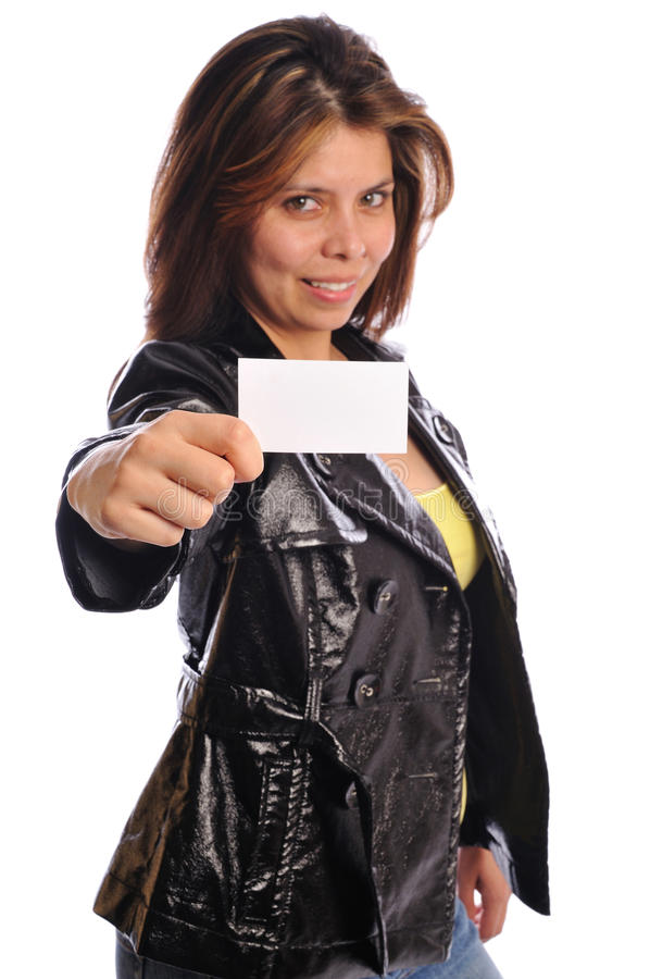 Download Woman In Leather Hold A Business Card Stock Image - Image: 11409945