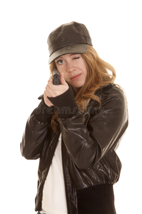 Woman leather pistol aim royalty free stock photos