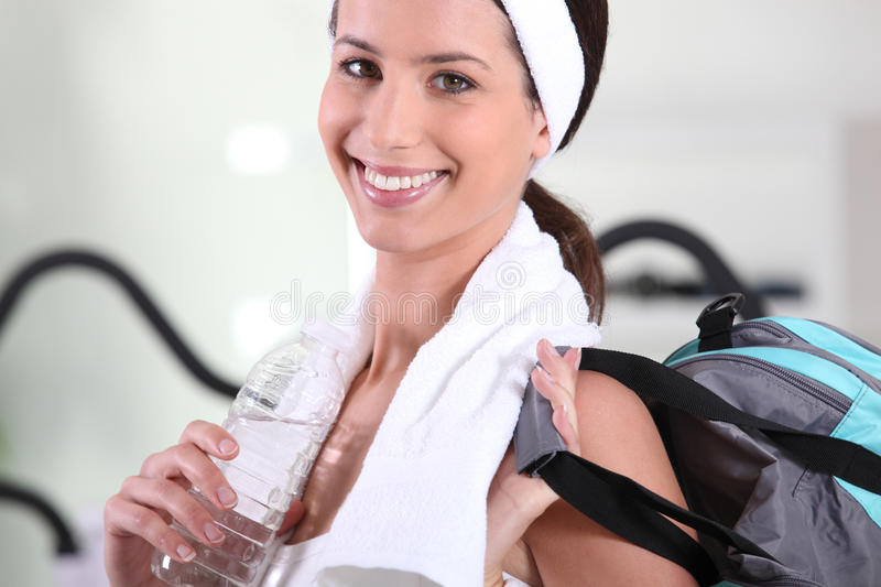 Woman leaving gym royalty free stock photos