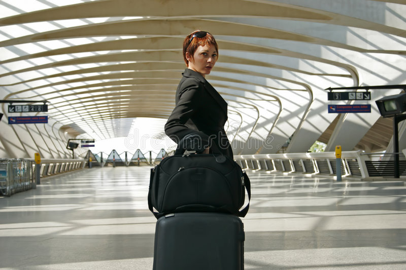 Woman leaving on a journey royalty free stock photos