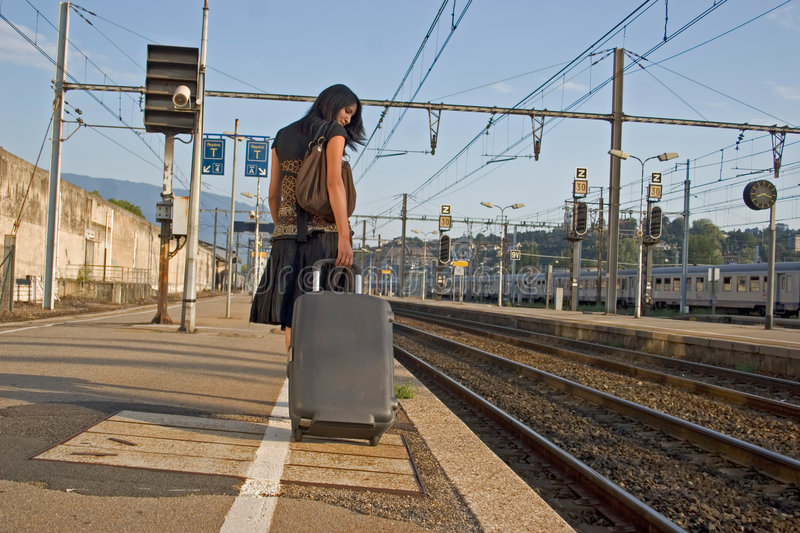 Woman leaving on a journey royalty free stock photo