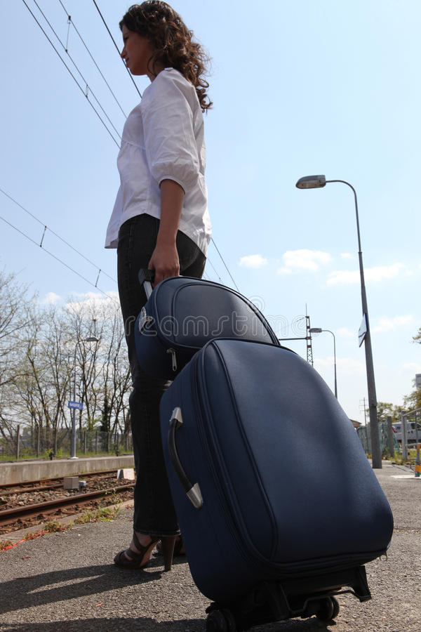 Download Woman leaving on a trip stock photo. Image of railway - 24496908