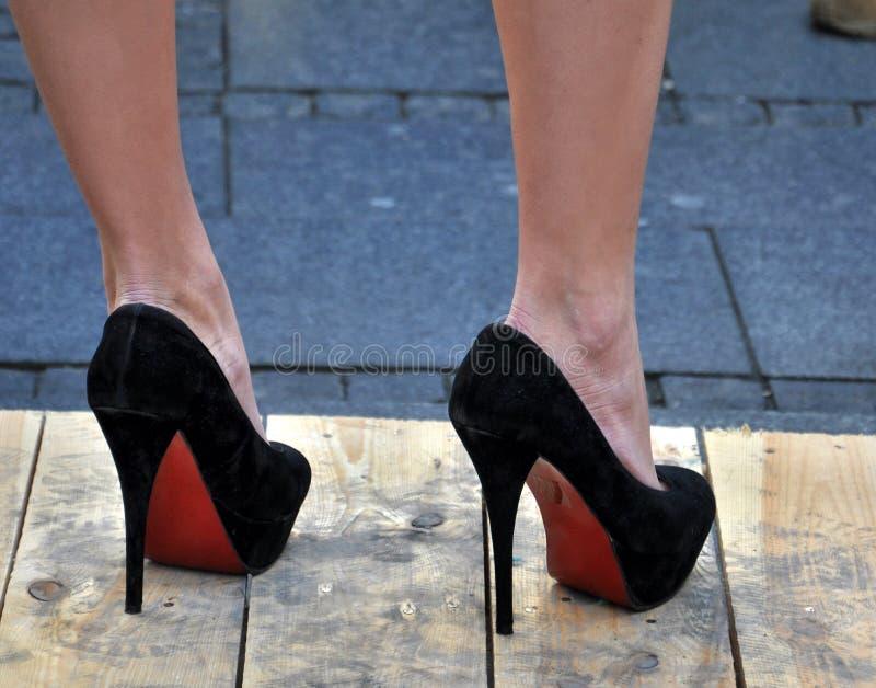Black high heels royalty free stock photo