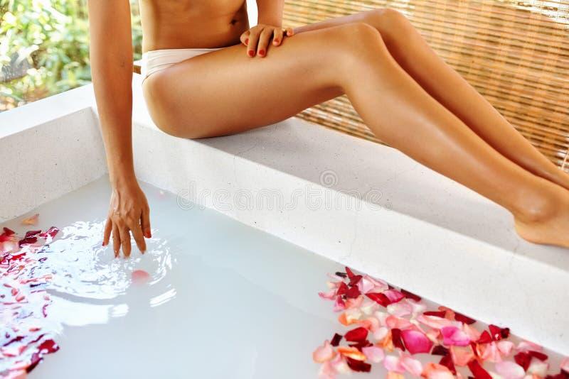 Woman Legs. Body Care. Rose Flower Bath. Spa Skin Treatment. Woman Legs. Body Care. Closeup Of Beautiful Female Legs Near Bath Full Of Rose Petals, Flower Skin stock photography