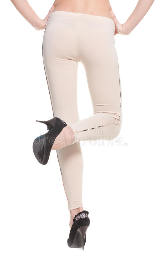 Download Woman Legs In Fawn Leggins And Black Shoes Stock Photo - Image: 18033426