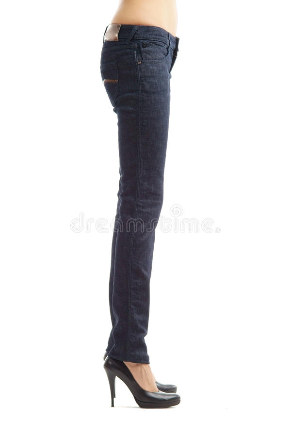 Woman legs in profile stock photography