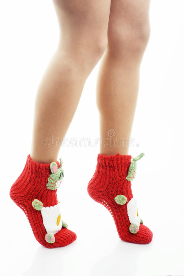 Woman legs in red socks royalty free stock photos