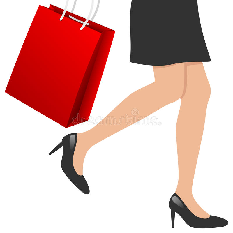Woman Legs with Shopping Bag. Woman legs with red shopping bag, isolated on white background. Eps file available stock illustration