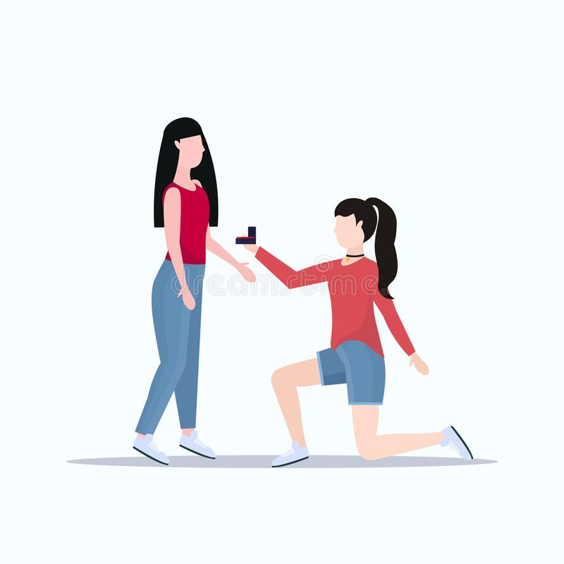 Woman lesbian kneeling holding engagement ring proposing girlfriend marry her couple women homosexual marriage offer vector illustration