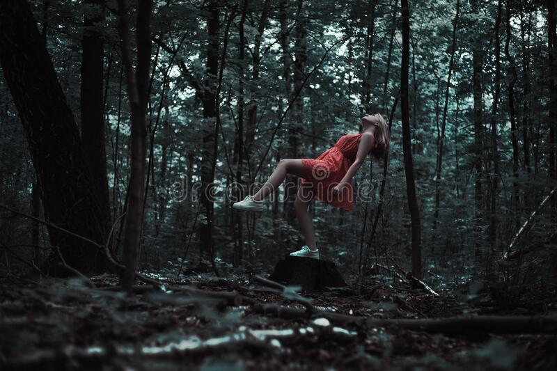 Woman Levitating In Forest Free Public Domain Cc0 Image
