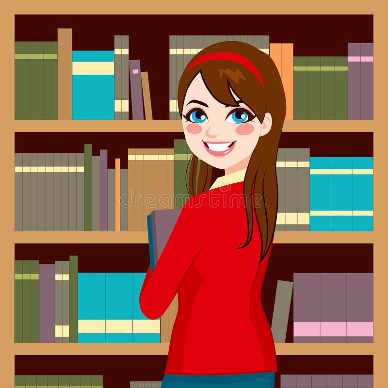 Woman In Library. Beautiful brunette librarian woman in library holding books royalty free illustration