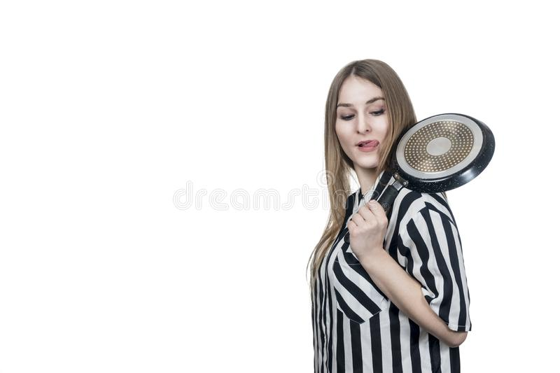 Woman licked while holding pan stock images