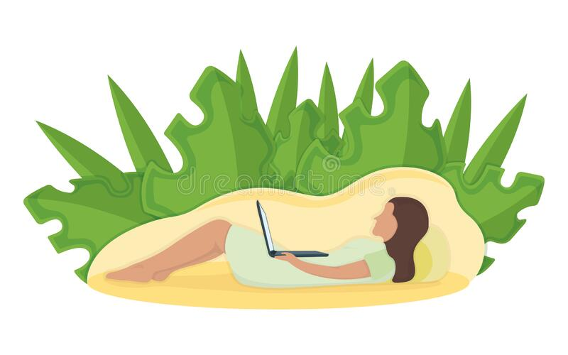 Woman lie floor with laptop in arms, leaf background, female character rest, relax. Isolated on white, flat vector illustration. Person with pillow, sleeping stock illustration