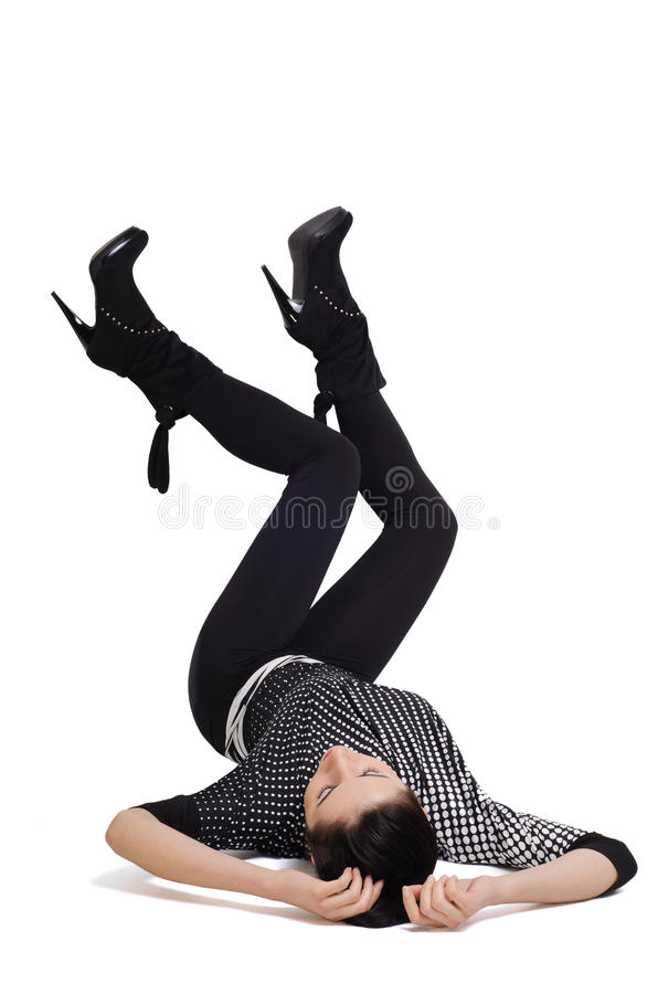 Download Woman Lies On Her Back With  Feet Raised Stock Photo - Image: 28981290
