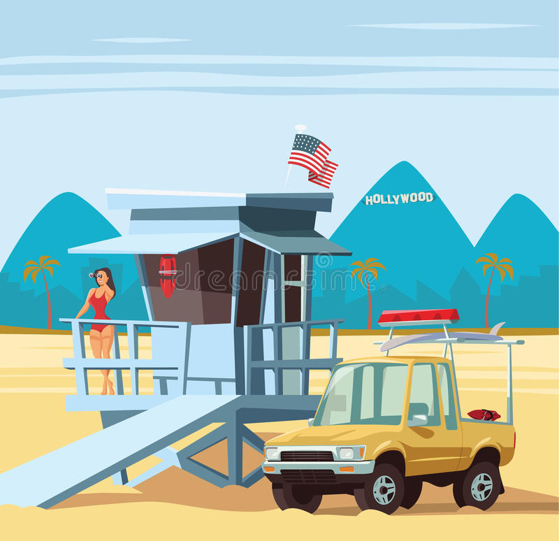 Woman lifeguard on duty with truck in Los Angeles beach. Illustration stock illustration