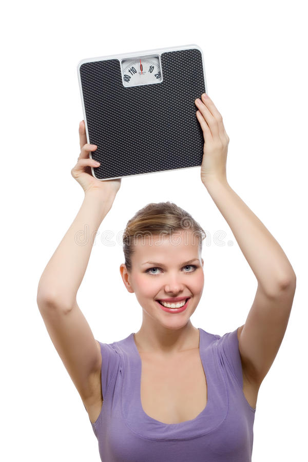 Free Woman Lifting A Weight Scale Over Her Head Royalty Free Stock Images - 13026399