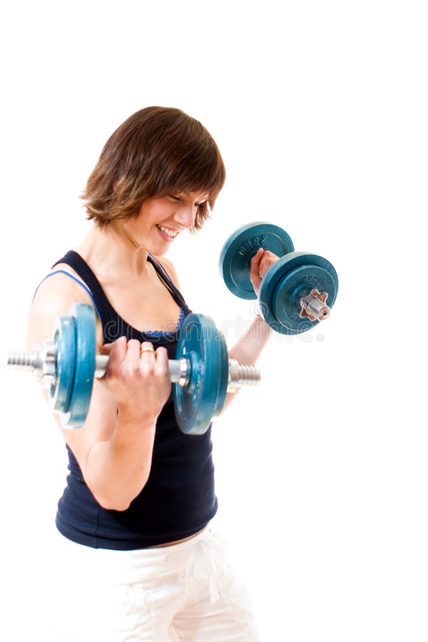 Download Woman lifting dumbbells stock photo. Image of anaerobic - 5344656