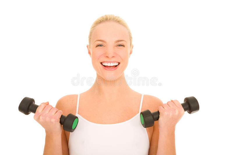 Download Woman lifts weights stock image. Image of health, body - 18253175