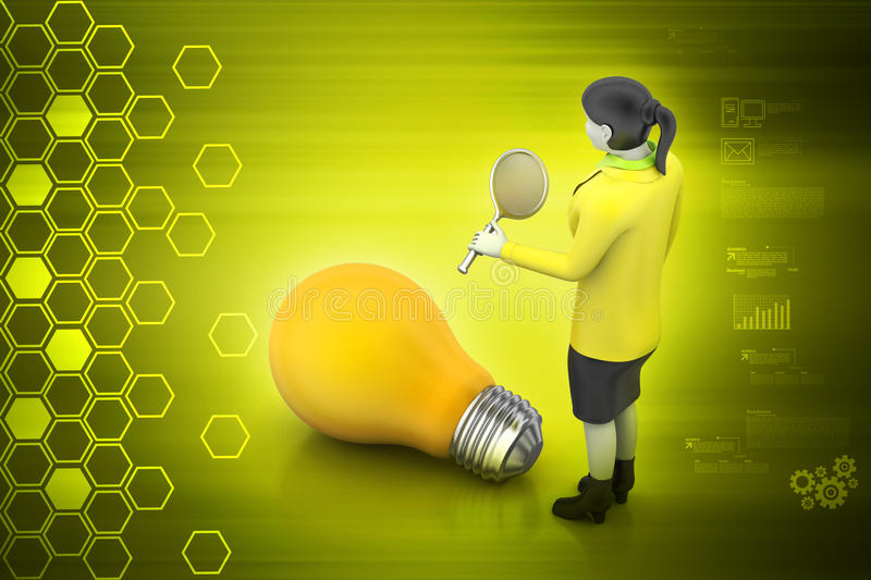 Woman with light bulb. In color background vector illustration