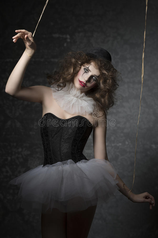 Woman like gothic puppet clown royalty free stock photography