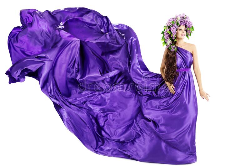 Woman Lilac Wreath, Silk Purple Dress Fluttering on Win, Beautiful Fashion Gown Waving on White royalty free stock image