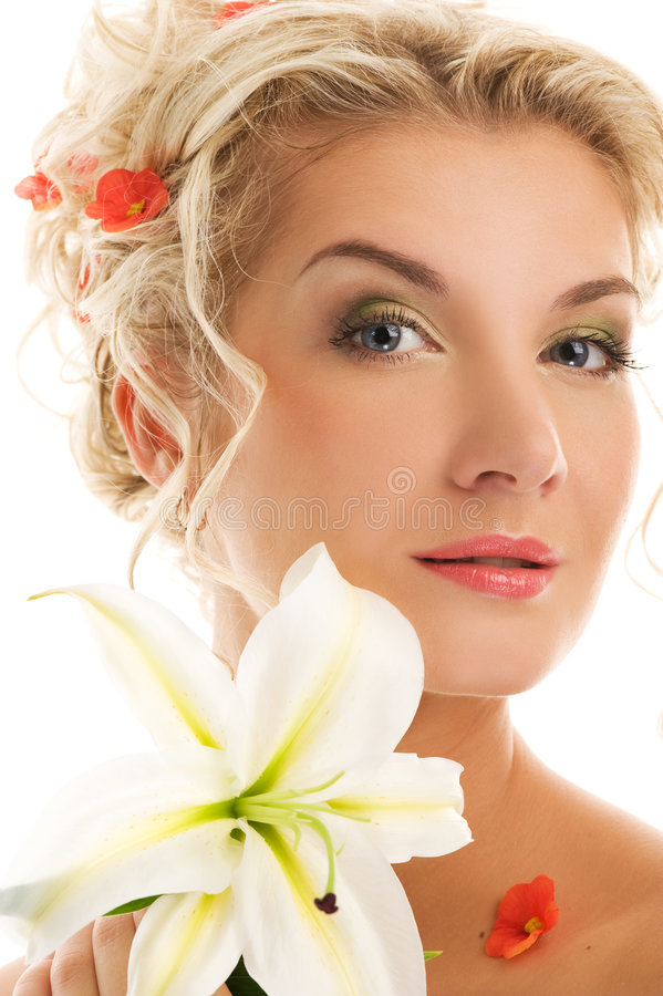 Download Woman with lily flower stock image. Image of girl, bride - 9177915