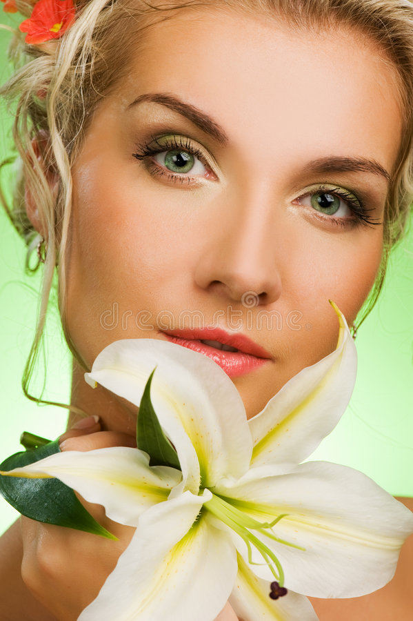 Download Woman with lily flower stock image. Image of close, healthy - 9192659