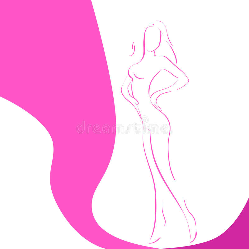 Woman Line Silhouette Pink Ribbon Breast Cancer. Awareness Female Body Vector Illustration stock illustration