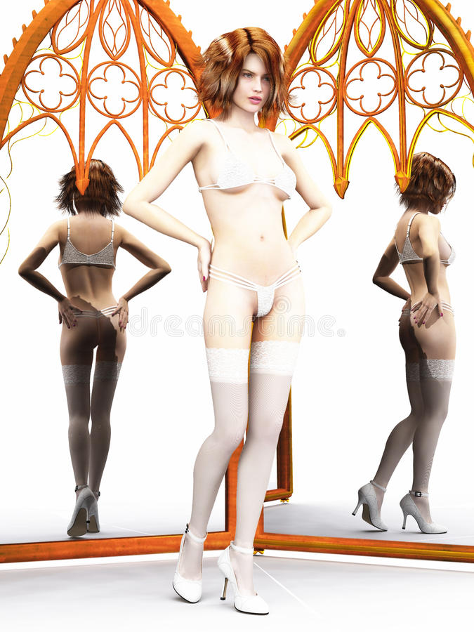 Download Woman In Lingerie With Mirrors Stock Illustration - Image: 18304167