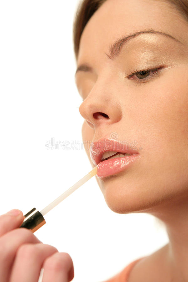 Download Woman with lip gloss stock image. Image of caucasian - 12174263