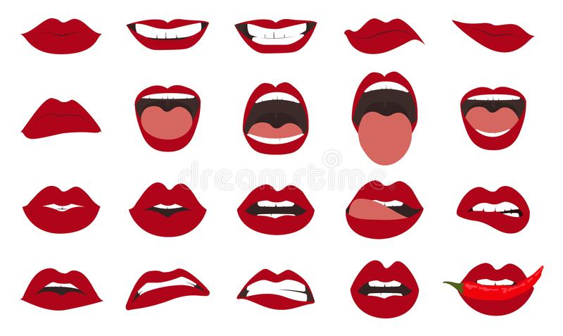 Woman lips gestures set. Girl mouths close up with red lipstick makeup expressing different emotions. EPS10 vector. stock illustration