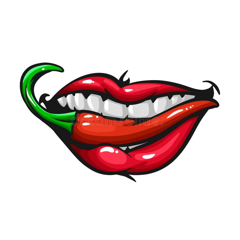 Woman lips with pepper. Cartoon illustration vector illustration