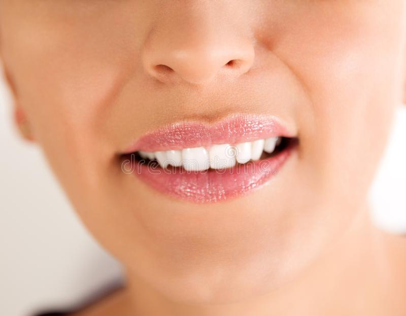 Woman lips. Woman smile. stock image
