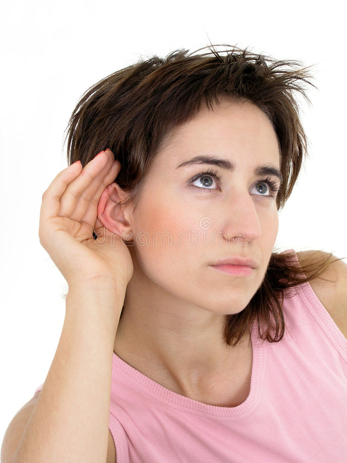 Download Woman listening stock photo. Image of portrait, background - 254620