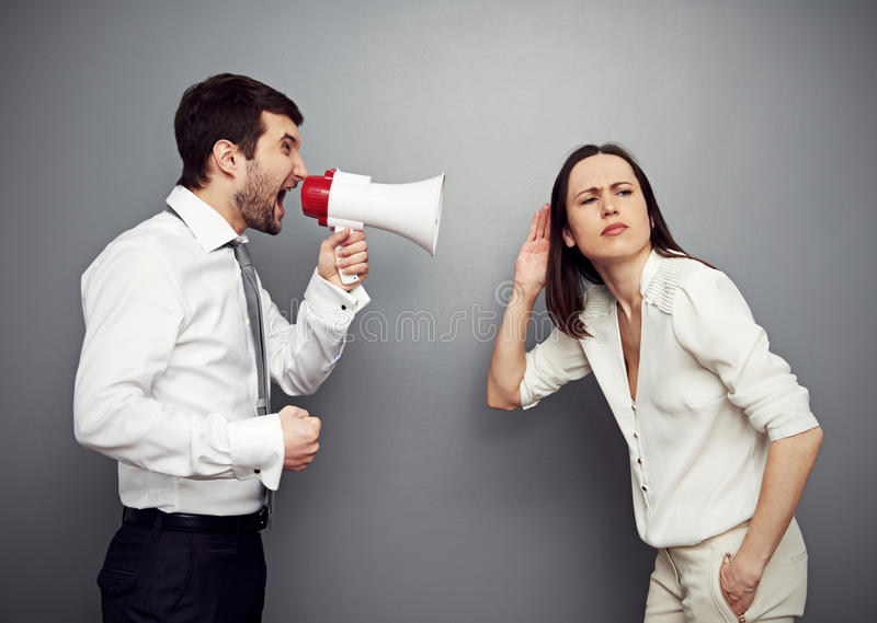 Download Woman Listening Her Angry Boss Stock Photo - Image: 30425152
