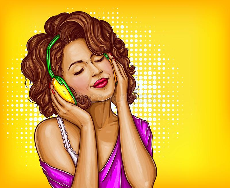 Woman listening music in headphones pop art vector royalty free illustration